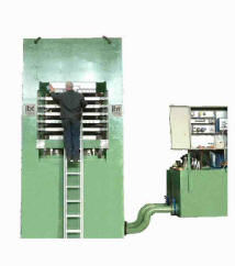 1200Ton Upstroke press for Foam pad production - oil heated platens